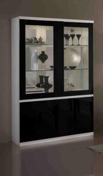 Apeldoorn Vitrinekast Wit Zwart   Goedkoopst bij A meubel