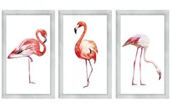 Metal glas 3-luik flamingos watercolour